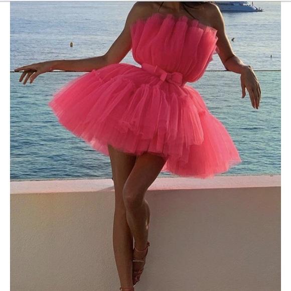 H&M X Giambattista Valli Pink Tulle Dress